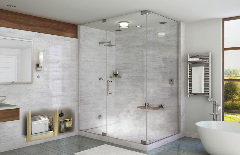 mẫu vách kính phòng tắm mở quay vuông góc
