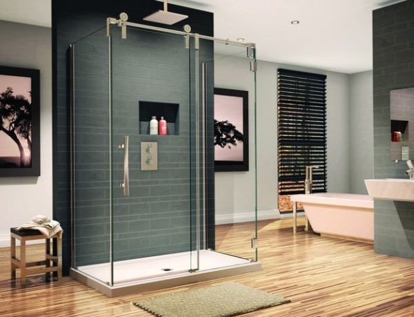 vách kính nhà tắm cửa trượt