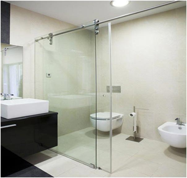 Cửa lùa nhôm kính cường lực cho nhà tắm