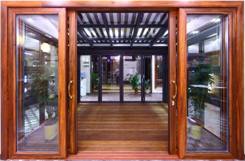 Mẫu cửa nhôm kính giả gỗ